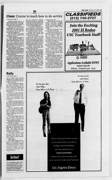 Daily Trojan, Vol. 139, No. 21, February 10, 2000