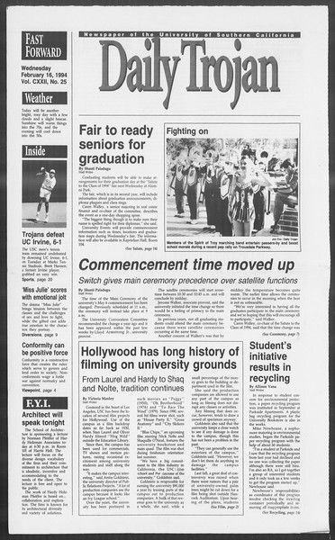 Daily Trojan, Vol. 122, No. 25, February 16, 1994