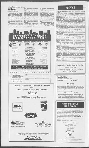 Daily Trojan, Vol. 121, No. 33, October 15, 1993