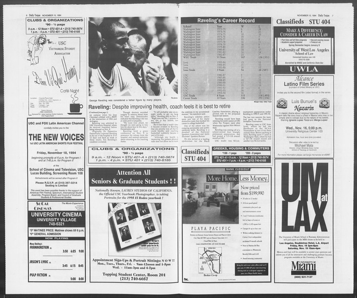 Daily Trojan, Vol. 123, No. 53, November 15, 1994