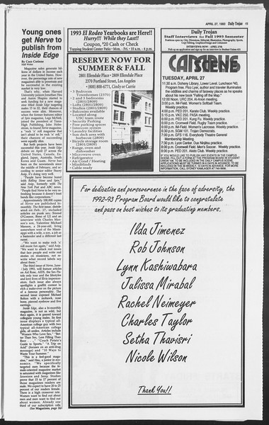 Daily Trojan, Vol. 119, No. 66, April 27, 1993