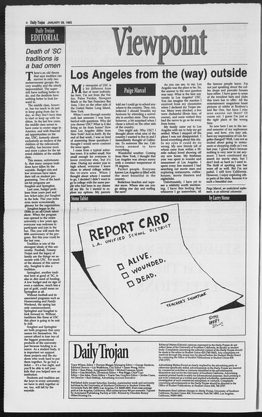 Daily Trojan, Vol. 119, No. 11, January 28, 1993