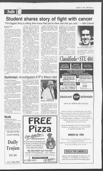 Daily Trojan, Vol. 122, No. 45, March 18, 1994