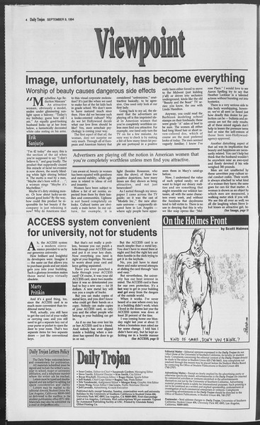 Daily Trojan, Vol. 123, No. 6, September 09, 1994