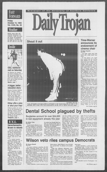 Daily Trojan, Vol. 121, No. 33, October 15, 1993