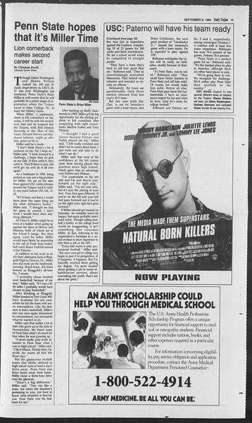 Daily Trojan, Vol. 123, No. 6, September 09, 1994