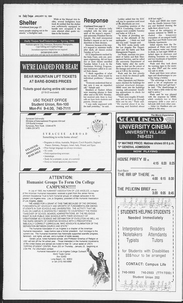 Daily Trojan, Vol. 122, No. 5, January 19, 1994
