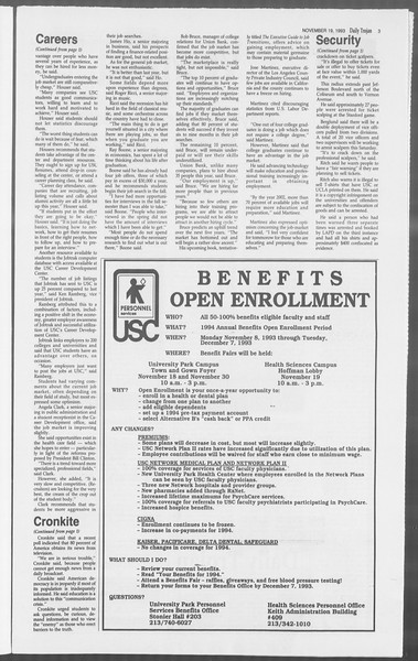 Daily Trojan, Vol. 121, No. 57, November 19, 1993
