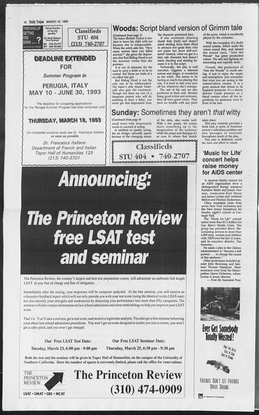 Daily Trojan, Vol. 119, No. 42, March 16, 1993