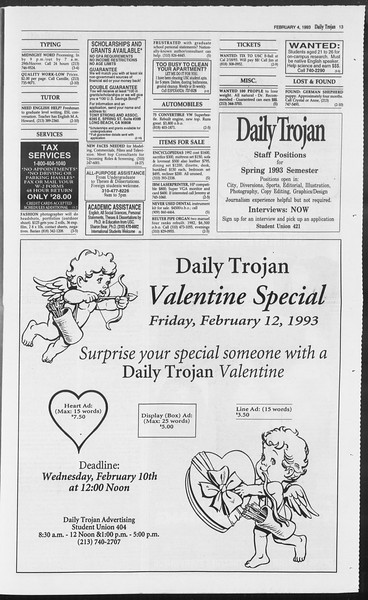 Daily Trojan, Vol. 119, No. 16, February 04, 1993