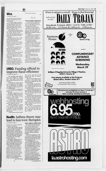 Daily Trojan, Vol. 139, No. 41, March 22, 2000