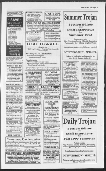 Daily Trojan, Vol. 119, No. 65, April 26, 1993