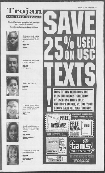 Daily Trojan, Vol. 121, No. 2, August 31, 1993