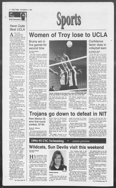 Daily Trojan, Vol. 123, No. 55, November 17, 1994