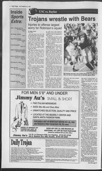 Daily Trojan, Vol. 123, No. 16, September 23, 1994