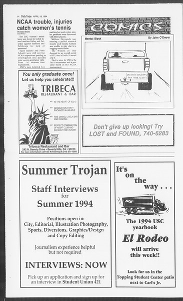Daily Trojan, Vol. 122, No. 60, April 18, 1994