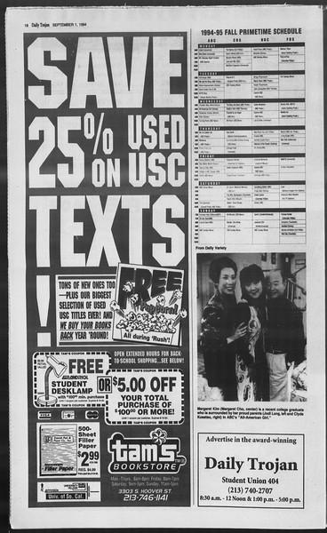 Daily Trojan, Vol. 123, No. 2, September 01, 1994
