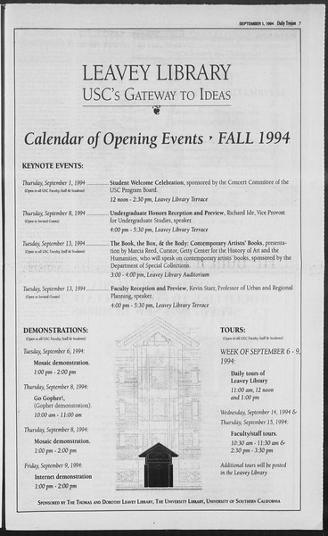 Daily Trojan, Vol. 123, No. 2, September 01, 1994