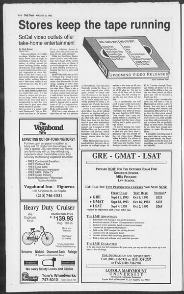 Daily Trojan, Vol. 121, No. 1, August 23, 1993