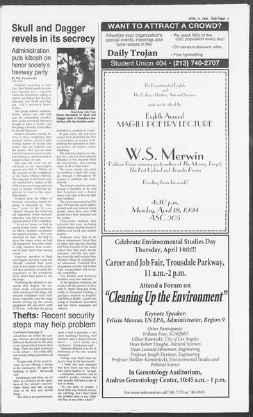 Daily Trojan, Vol. 122, No. 58, April 14, 1994