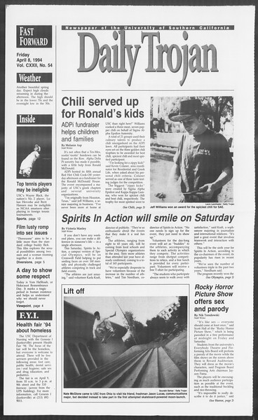 Daily Trojan, Vol. 122, No. 54, April 08, 1994
