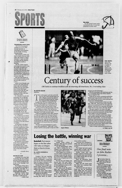 Daily Trojan, Vol. 139, No. 29, February 24, 2000