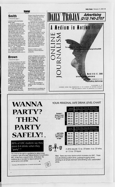 Daily Trojan, Vol. 139, No. 26, February 17, 2000