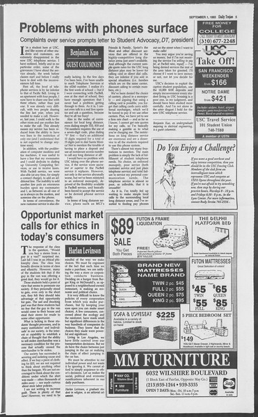 Daily Trojan, Vol. 121, No. 3, September 01, 1993