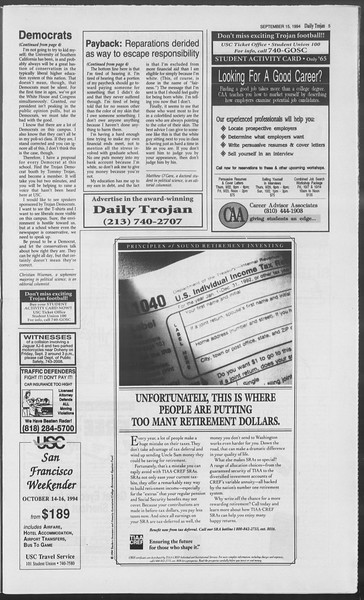 Daily Trojan, Vol. 123, No. 10, September 15, 1994