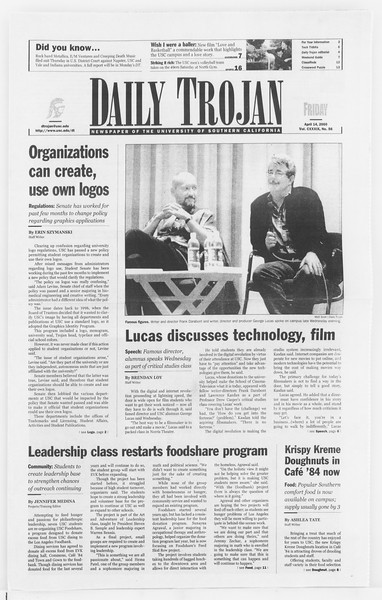 Daily Trojan, Vol. 139, No. 58, April 14, 2000