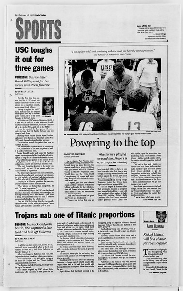 Daily Trojan, Vol. 139, No. 25, February 16, 2000