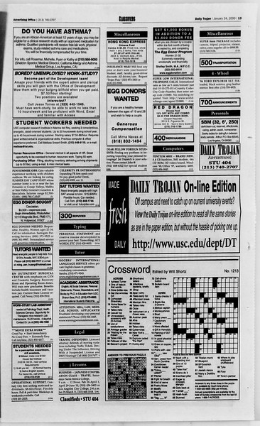 Daily Trojan, Vol. 139, No. 8, January 24, 2000