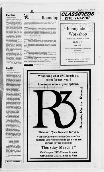 Daily Trojan, Vol. 139, No. 33, March 01, 2000