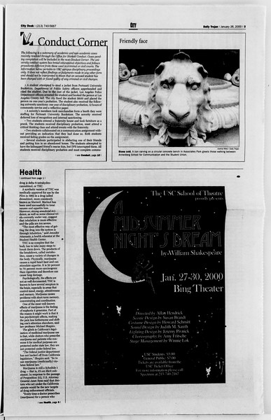 Daily Trojan, Vol. 139, No. 10, January 26, 2000