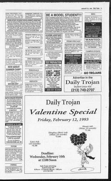 Daily Trojan, Vol. 119, No. 8, January 25, 1993