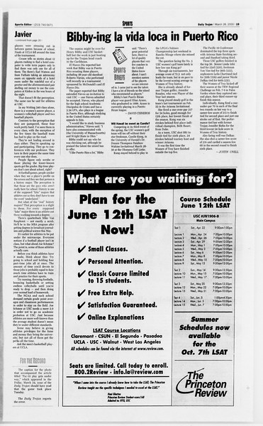 Daily Trojan, Vol. 139, No. 45, March 28, 2000