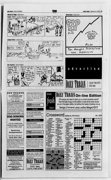 Daily Trojan, Vol. 139, No. 21, February 10, 2000
