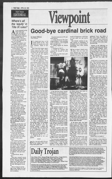 Daily Trojan, Vol. 119, No. 65, April 26, 1993