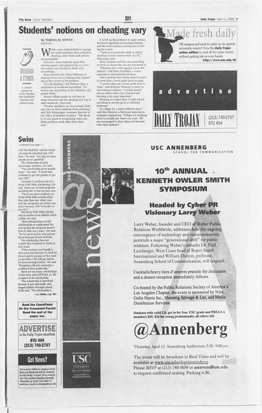 Daily Trojan, Vol. 139, No. 55, April 11, 2000