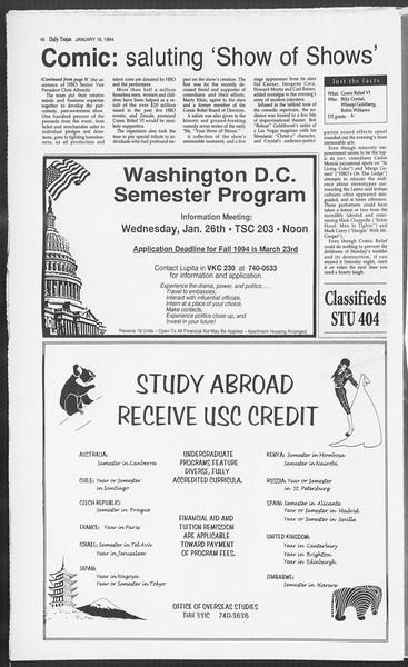 Daily Trojan, Vol. 122, No. 5, January 19, 1994