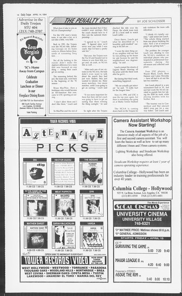 Daily Trojan, Vol. 122, No. 58, April 14, 1994