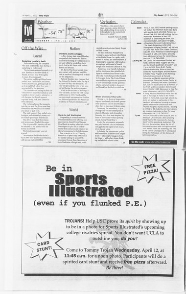 Daily Trojan, Vol. 139, No. 55, April 11, 2000