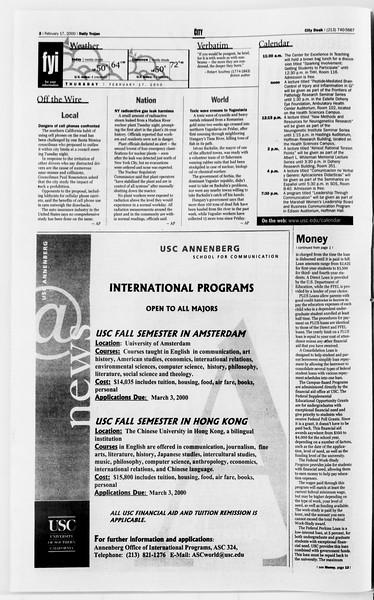 Daily Trojan, Vol. 139, No. 26, February 17, 2000