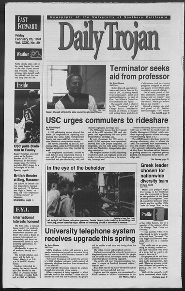 Daily Trojan, Vol. 119, No. 30, February 26, 1993