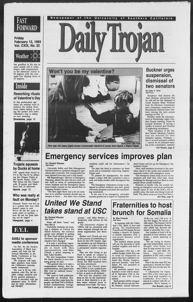 Daily Trojan, Vol. 119, No. 22, February 12, 1993