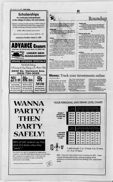 Daily Trojan, Vol. 139, No. 11, January 27, 2000
