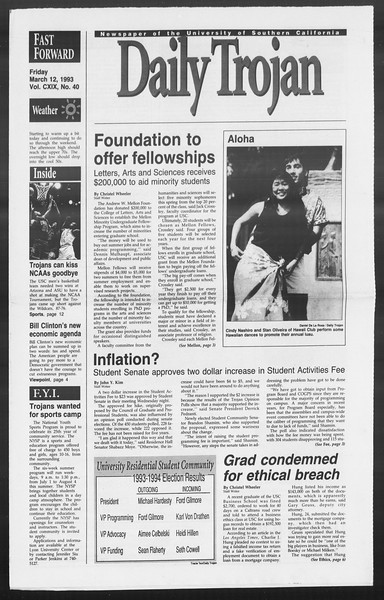 Daily Trojan, Vol. 119, No. 40, March 12, 1993