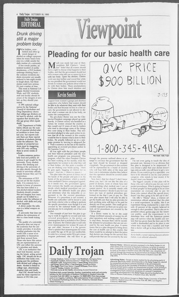 Daily Trojan, Vol. 121, No. 34, October 18, 1993