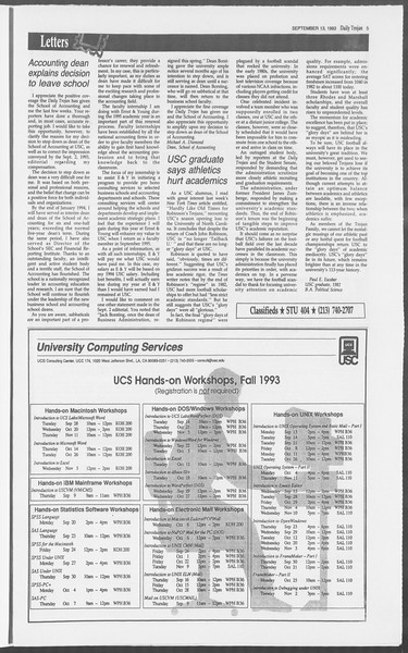 Daily Trojan, Vol. 121, No. 9, September 13, 1993