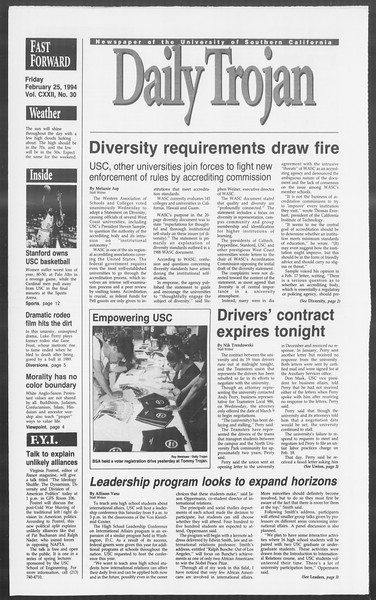 Daily Trojan, Vol. 122, No. 30, February 25, 1994